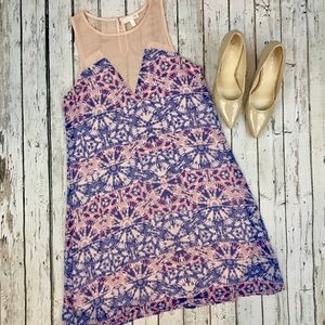 {Gianni Bini} Pink and Purple Geo Print Dress